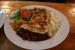Yumm, another local Costa Rican dish - chicken, rice, beans, salad, and plantains